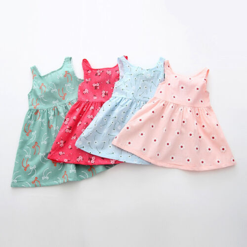 New Newborn Baby Girl Clothes Toddler Infant Flower Summer Dress Outfit 6-36M