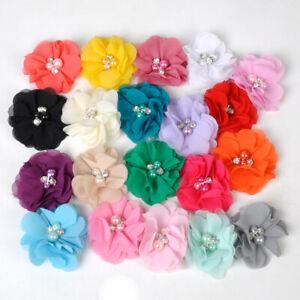 20x DIY Baby Girl Headband Corsage Accessories Pearl Chiffon Flower No Clip bu