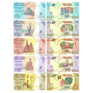 Madagascar-100-200-500-1000-2000-Ariary-2017-Banknote-Set-5-PCS-UNC