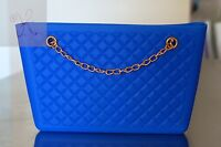 Women Blue Jelly Frosted Candy Silicone Shoulder Purse Handbag Satchel Bag