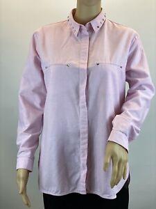 Zara-Oversized-Pink-Studded-Elegant-Long-Sleeve-Button-Up-Shirt-Blouse-Size-M