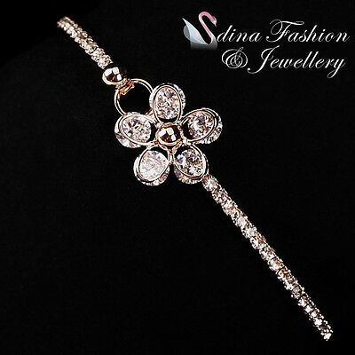 18K Rose Gold Plated Simulated Diamond Studded Sparkling Sparkling Flower Bangle