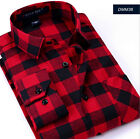 Flannel Classic Red Plaids Checks Men's Long Sleeve Casual Dress T Shirts Tops