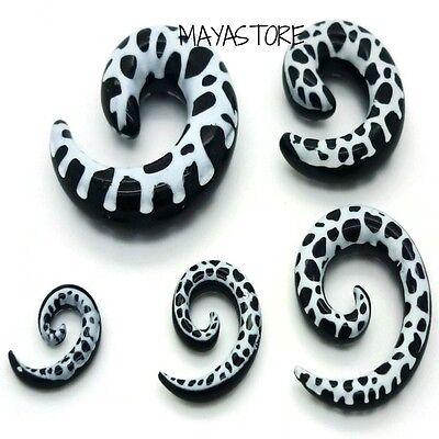Piercing Schmuck Ohr Expander Dehn Spitze Acryl Leopard Muster in 6-12mm Stärke