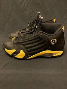 buy popular 64e3b 33975 Details about 2014 NIKE AIR JORDAN 14 XIV RETRO THUNDER YELLOW/BLACK  487471-070 MENS SIZE 10