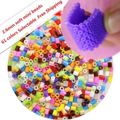2.6mm perler beads soft MINI beads DIY toys 1000pcs/bag 61 colors Free Shipping