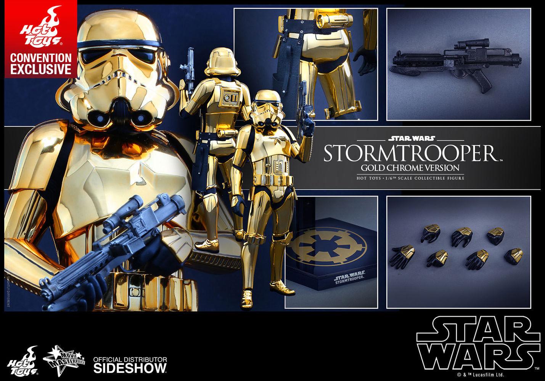 =MIB= Hot Toys 1 6 Star Wars Stormtrooper gold Chrome Version MMS364 SDCC Ex