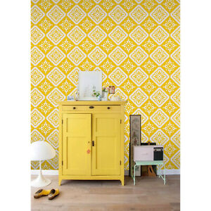Vintage Removable Wallpaper Yellow And White Wall Mural Temporary Ebay