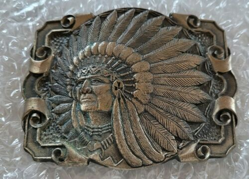 Handmade Southwestern Native American Sand Lines Rock Carving Cave Art Solid Brass Vintage Belt Buckle