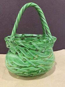 Beautiful Murano Art Glass Purse/Vase with Bows & Swirls of Green & White Glass