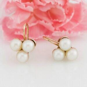 60c77e39f 10k Yellow Gold Vintage 3 Pearl Screw back/Screwback Earrings | eBay