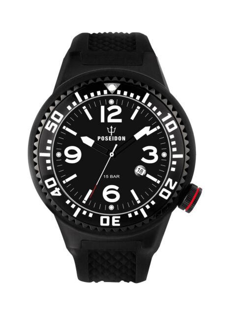 POSEIDON Herren-Armbanduhr XL Black Pro Silikon UP00257 Schwarz UVP 139,- €