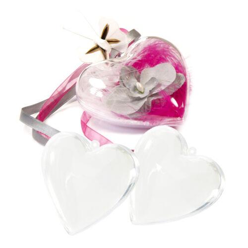 Acrylherz divisible 8 cm environ 1 pièces boîte herzschachtel transparent Coeur