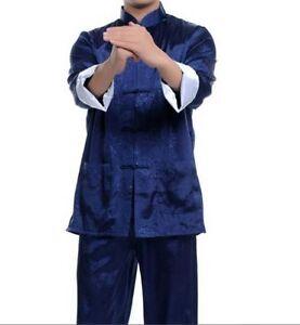Blue-Chinese-men-039-s-Satin-silk-kung-fu-suit-pajamas-M-3xL