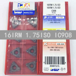 ISCAR-16IRM-1-75ISO-IC908-Threaded-blade-Carbide-Inserts-10Pcs