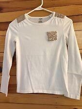 *GYMBOREE* Girls SNOWFLAKE GLAMOUR Ivory Sequin Pocket Shirt Top Size 12