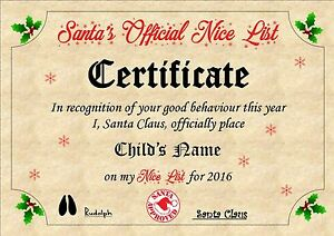 Image Is Loading Personalised Santa Nice List Certificate A4 Christmas Eve