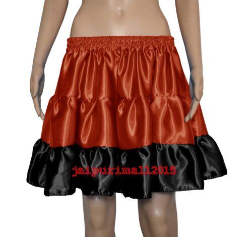 Pleated Retro Satin 3 Tiered Mini Skirt Tribal Ruffle Belly Dance Jupe Flamenco