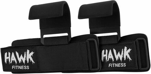 Weight Lifting Hooks Grips with Wrist Wraps /& Straps Powerlifting Weightlifting
