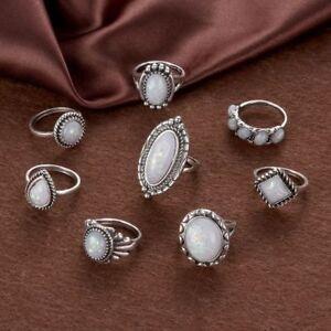 8PCS-Natural-Wedding-Retro-Fire-Opal-Gemstone-Ring-Set-Silver-Plated