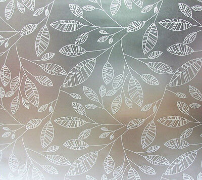 Privacy Window Film, Frosted Leaf Design, Self Adhesive, Window Cover, Modern