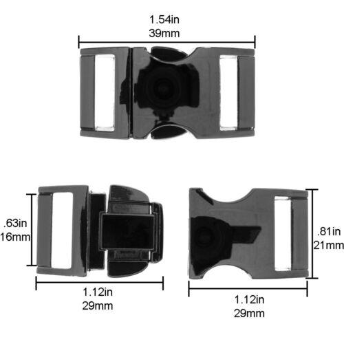 """5//8/"""" Metal Contoured Side Release Buckle for Paracord Bracelet//Dog Collar 16mm"""