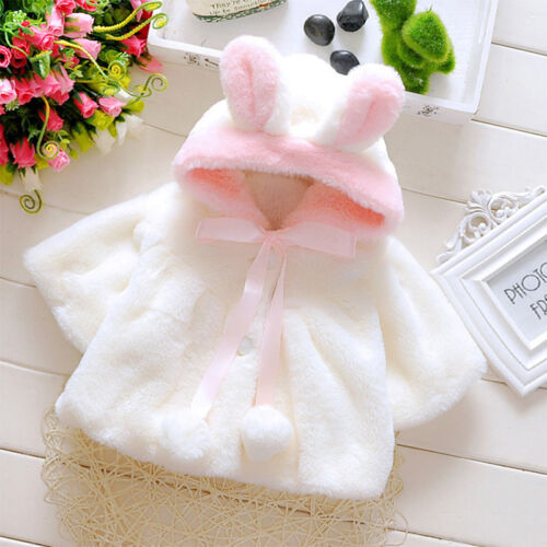 Baby Kids Girls Faux Fur Ear Soft Comfy Snow Toddler Hooded Winter Coats Jackets
