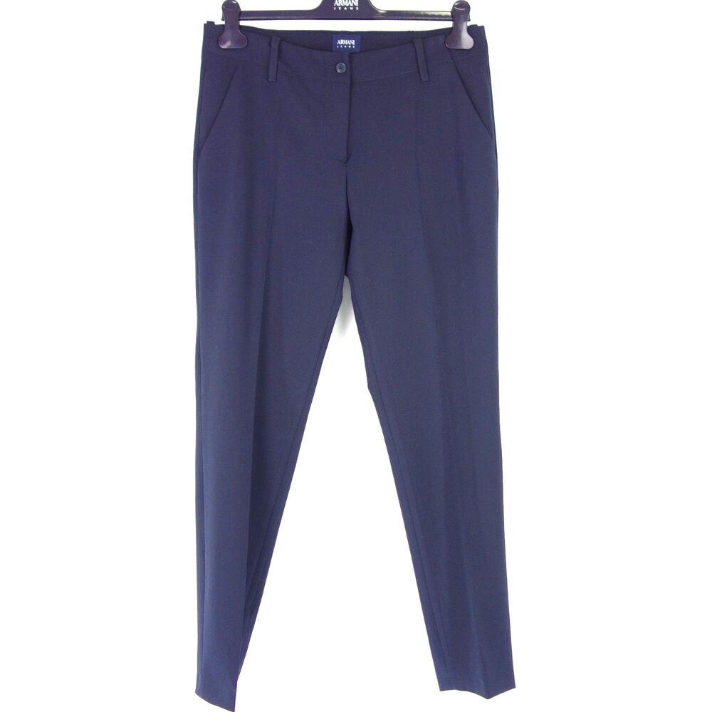 Armani Aj Pantalon Femme 6y5p07 Fr 40 It 44 W29 Business Bleu Stoffhose Np 199 Neuf