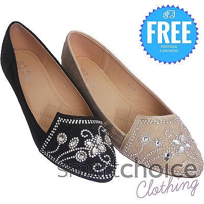Damas niñas Plana bombas Brillo Diamante Sandalias De Ballet Dolly Nupcial Zapatos Talla
