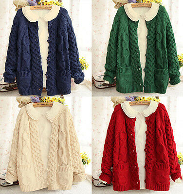 Kawaii Lolita Winter Cardigan Cute Knit Japanese Sweater Coat Christmas 4colors