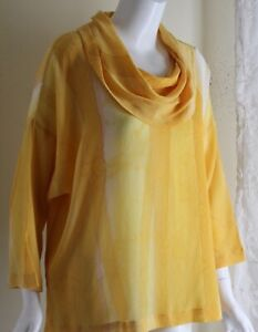 KAY-CHAPMAN-Sz-0-S-M-Yellow-Silk-Art-to-Wear-Monk-Neck-Cowl-Blouse-Top-Artist