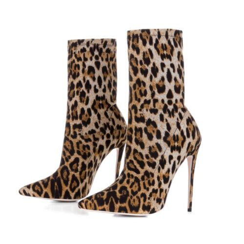 UK Women Ladies Leopard Print Ankle Boots Stiletto High Heels Stretch Shoes Size