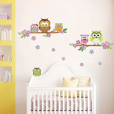 Cute Colourful Owl Tree & Flowers Wall Stickers Nursery Kids Mural art Decal