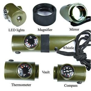 Camping-Survival-Whistle-Compass-Thermometer-Magnifier-LED-Flashlight-Fire-Prof