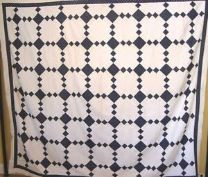 LARGE-ANTIQUE-QUILT-TOP-IRISH-CHAIN-VARIATION-c-1880