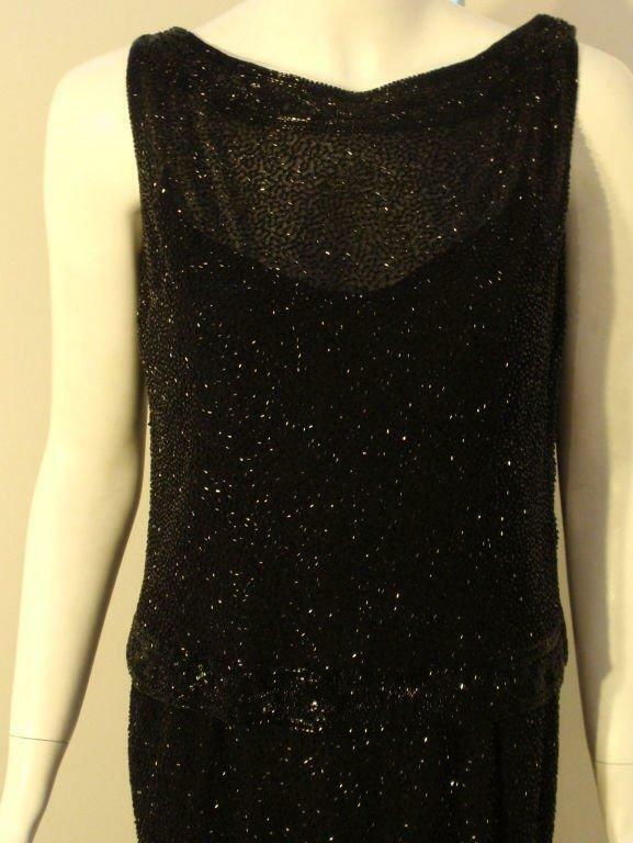 CEIL CHAPMAN 1960s Vintage 2 pc Black Beaded Gown - image 8