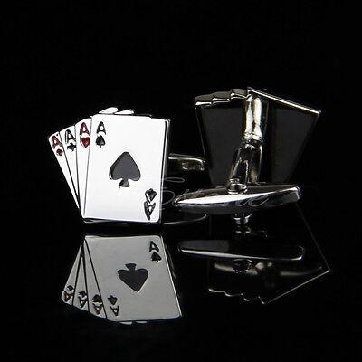 Stainless Steel Silver Vintage Men's Wedding Gift Poker Cufflinks Cuff Links