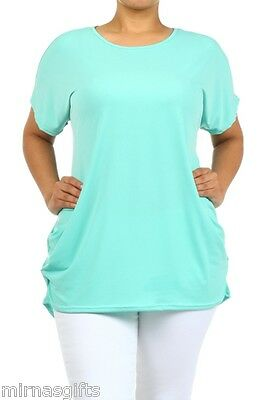 PLUS SIZE SOLID KNIT TUNIC TOP BLOUSE 1XL 2XL 3XL ASSORTED COLORS