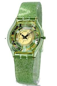 Swatch verdor classic skin silicone glitter green band women watch 35mm sfg106 ebay - Jardin fleuri swatch toulouse ...