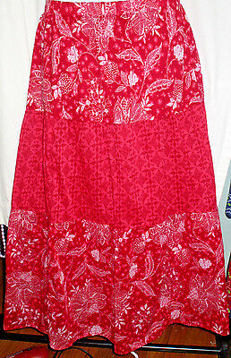 Women's Basic Editions Red Tiered Cotton Skirt Elastic Waist Size M