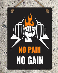 Metal Hanging Sign Motivational No Pain No Gain Quote Gym Wall Door