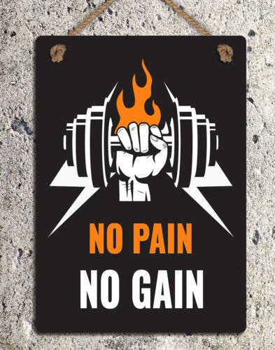 Letrero de metal colgado motivacionales no Dolor No Ganar Placa de Puerta de Pared Cita Gimnasio Regalo