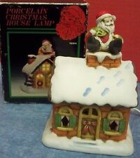 """Vintage Flambro Ceramic Lighted Christmas House #1294 Appr 7"""" T Made Taiwan IOB"""