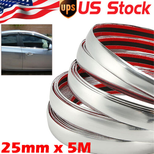 25mm x 5M Car Chrome Moulding Trim Strip Door Edge Scratch Guard Protector Strip
