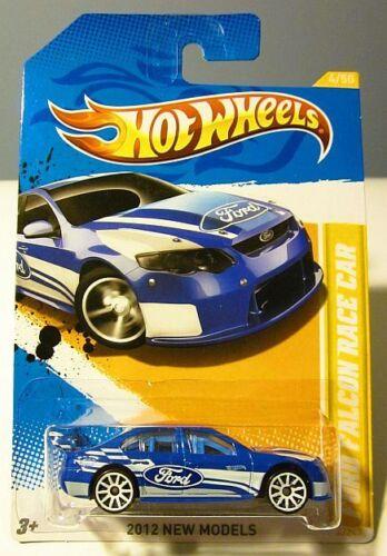 V8 SUPERCAR ~ Ford Falcon Race Car BLUE ~ HOT WHEELS 2012 NEW MODELS ~ LONG CARD