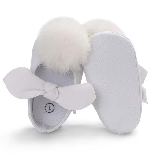 Newborn Baby Girl Pom Pom Crib Shoes Mary Janes Anti-Slip Trainers Size 0-18 M