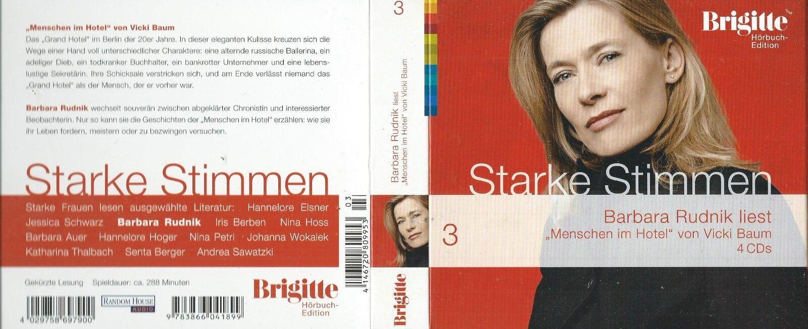 Menschen im Hotel. 4 CDs von Vicki Baum (2006) gelesen von Barbara Rudnik - Vicki Baum