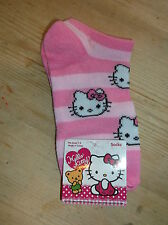 Hello Kitty Corta a Rayas Calcetines Entrenador-Liner UK 6-8.5 EU 22-25.5 Rosa Mix BNWT