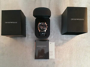 New-Mens-Emporio-Armani-AR5905-Black-amp-Rose-Gold-Chronograph-Watch-Boxed