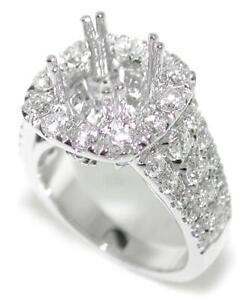 Dazzling-1-96-Ct-Round-Diamond-Halo-Semi-Mount-Setting-Ring-14K-White-Gold